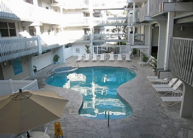 Pool near the front of the complex