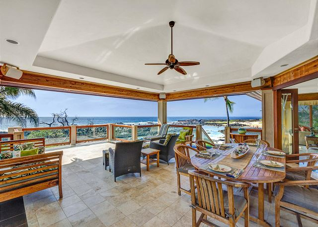 Spacious Covered Middle Lanai with Dining and Lounge Seating