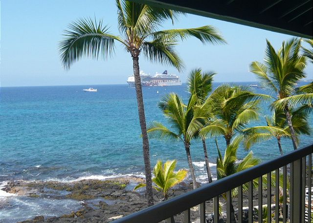 Watch the cruise ships from this lanai