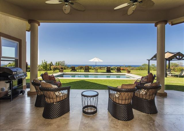 Covered Lanai Overlooking Private Pool and Ocean Views