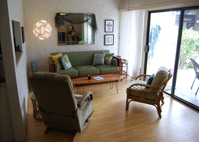 Living area with new hardwood floors