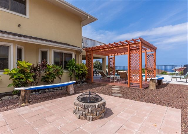 Firepit and shaded lanai space