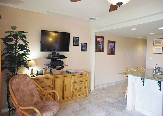 Living Area with Large Flat Screen TV
