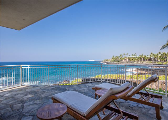 Enjoy the surf crashing on your ocean front lanai