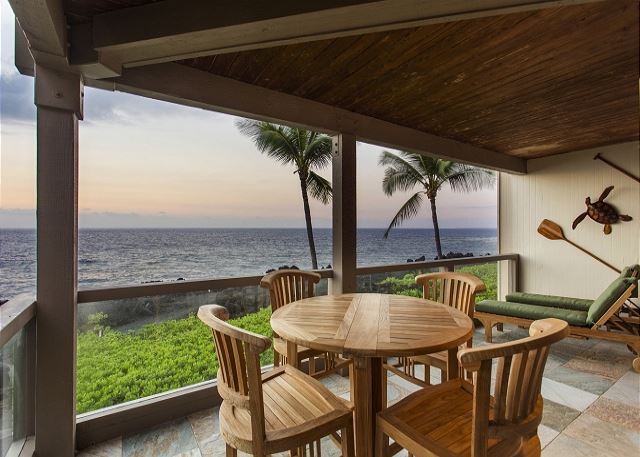 Teak Dining Table on Ocean Front Lanai