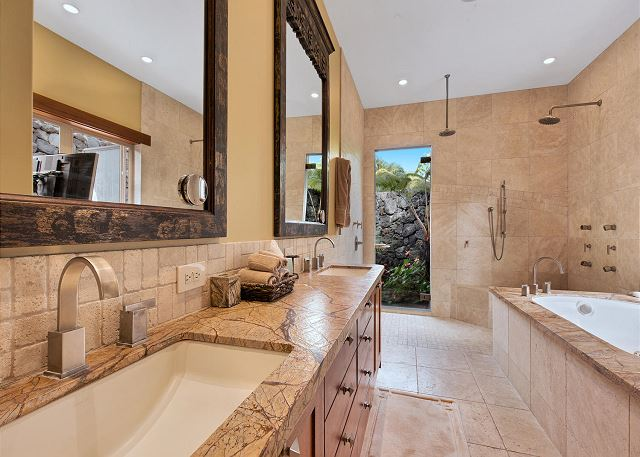 Master Bathroom Double Sinks Separate Tub and Shower