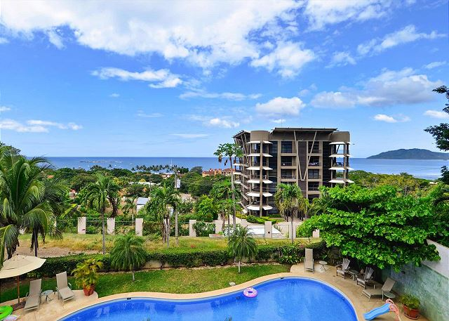 View of Tamarindo's lush green and sapphire blue