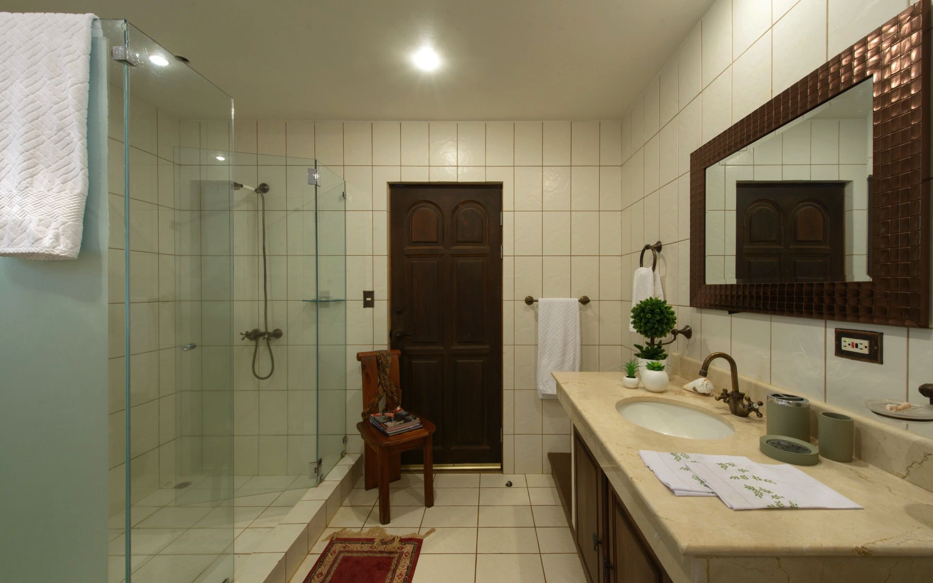Full bathroom with spacious shower