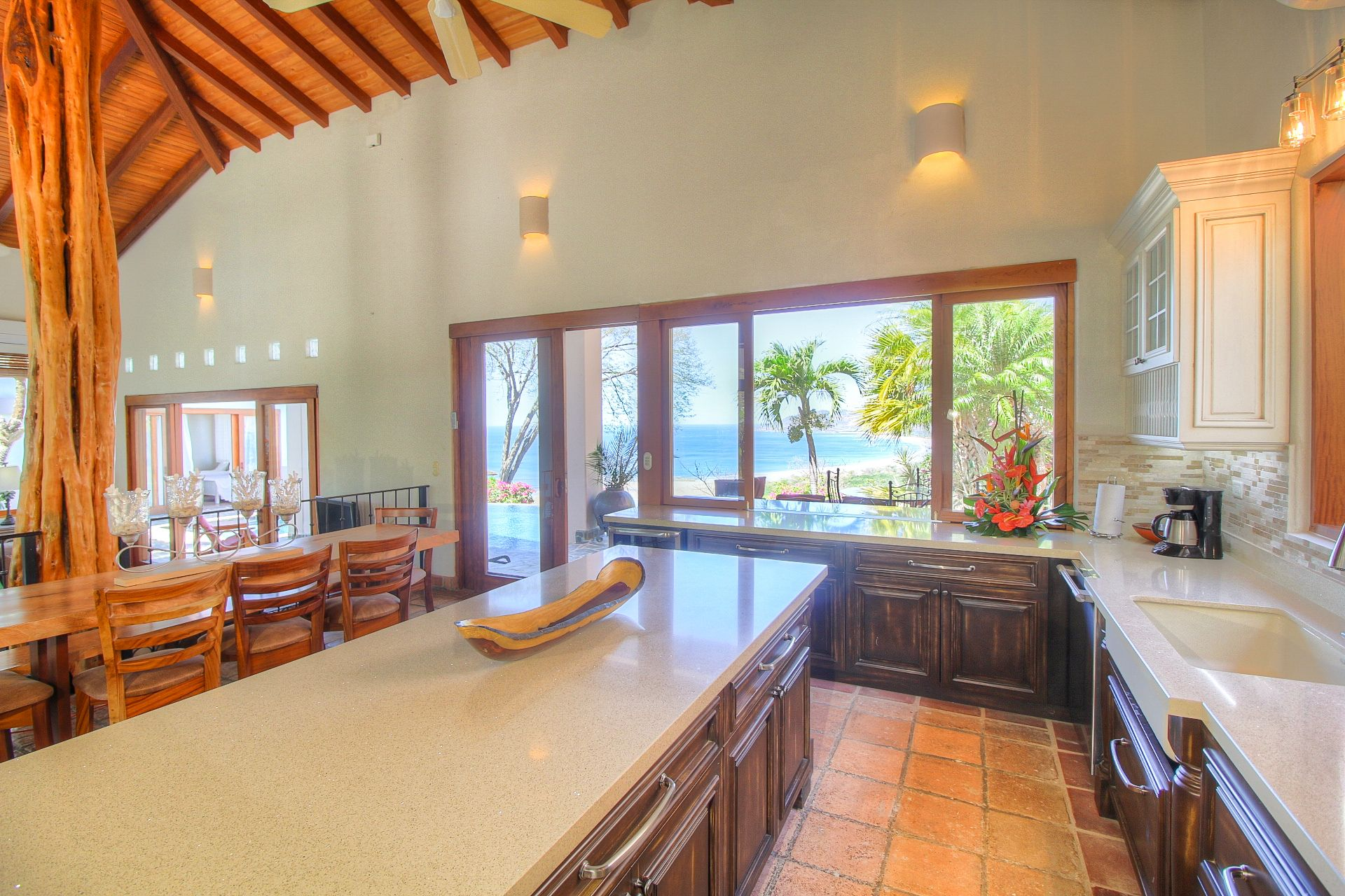 Casa Catalina's ocean-view kitchen