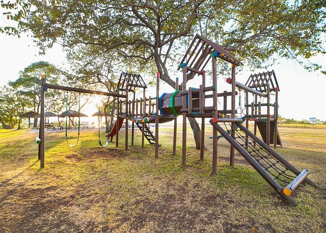 The beach club's playground is perfect for kids