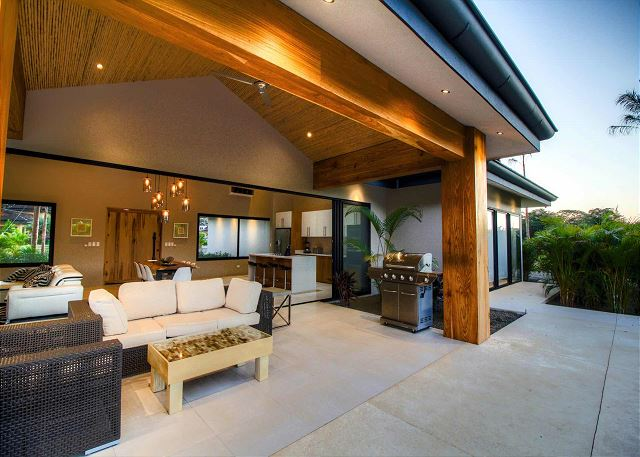 Large outside area with gas BBQ