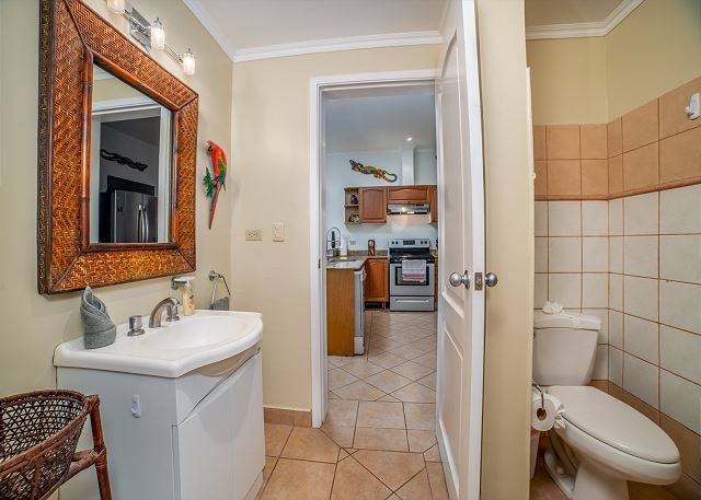 The full modern bathroom is shared by the kitchen and bedroom