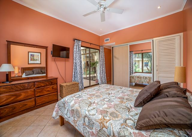 The bedrooms amenities include the large closet, flat screen tv,