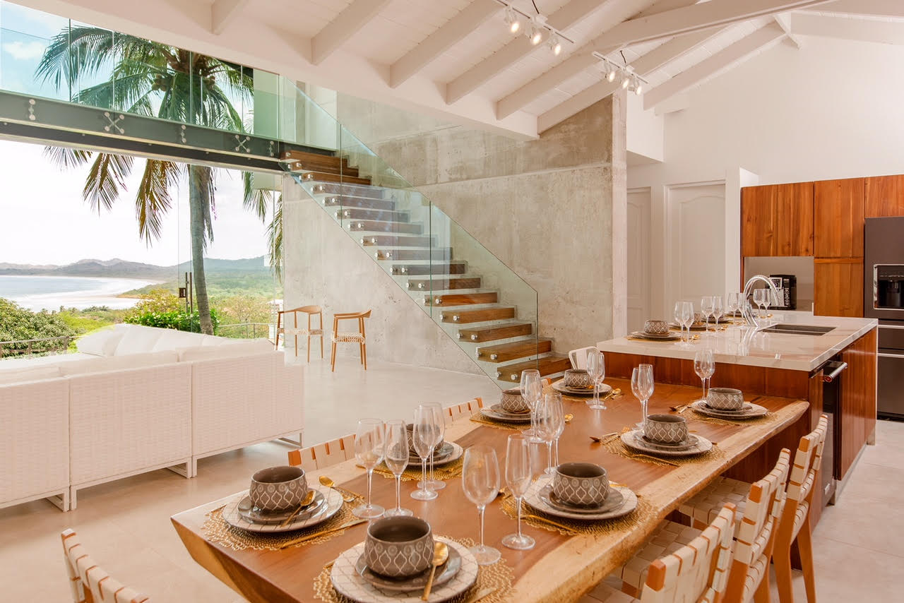 Dining area and living room with stunning view