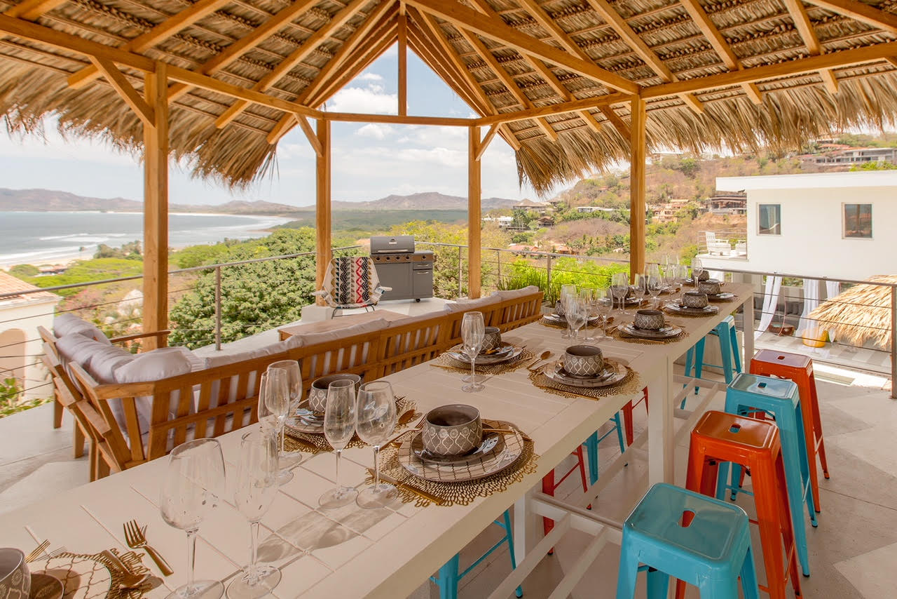 Outdoor dining with ocean view