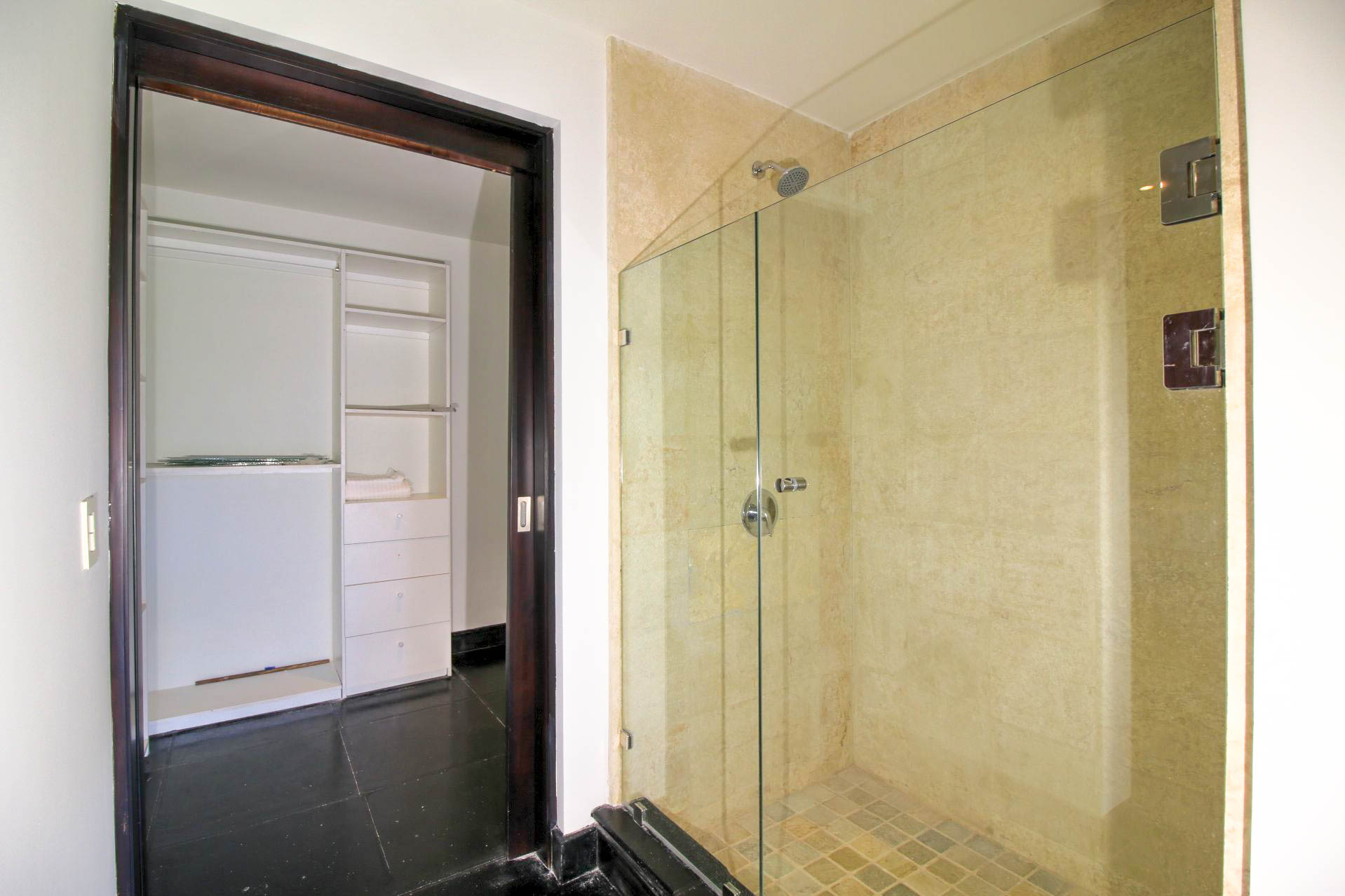 Shower and walk-in closet