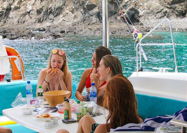 Enjoy food prepared on board!