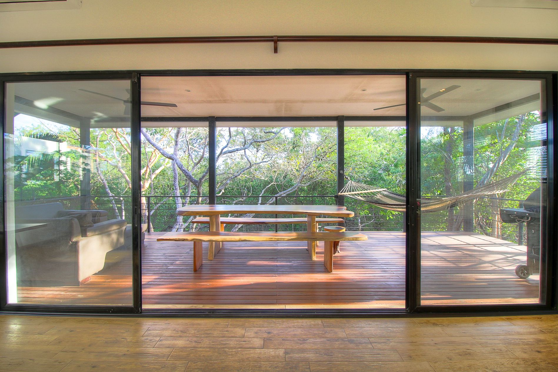 Floor-to-ceiling glass doors and windows