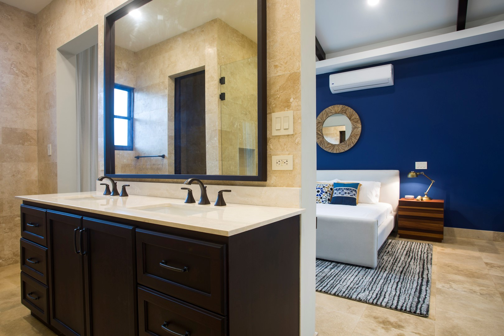 Spacious bath with double sinks
