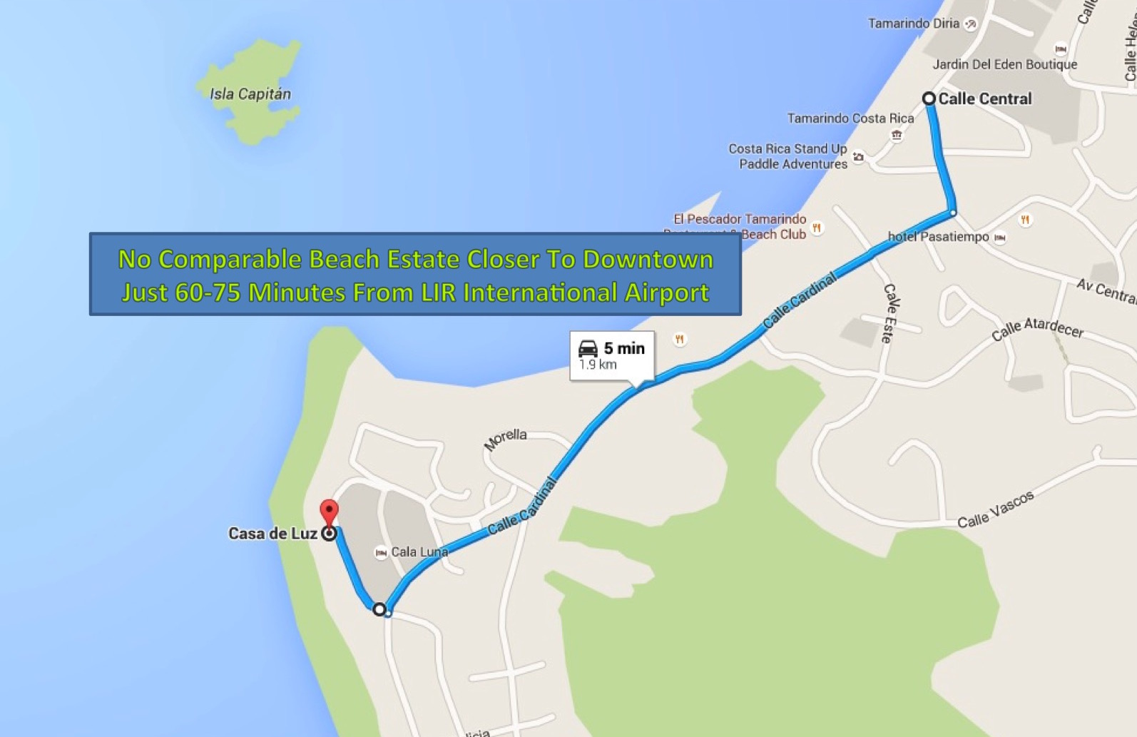 Quick drive or walk from the house to Tamarindo