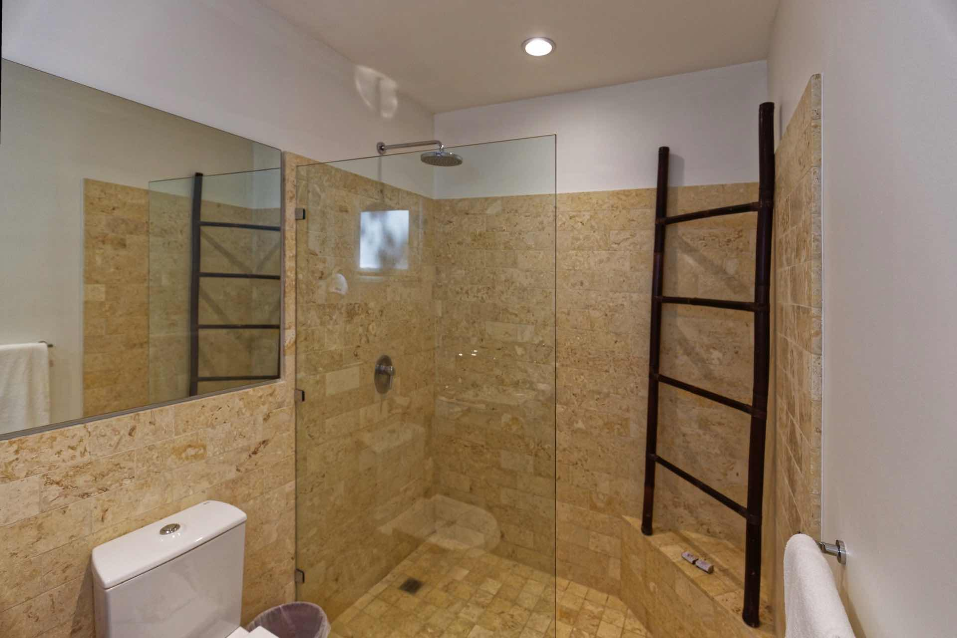 Shower with glass walls