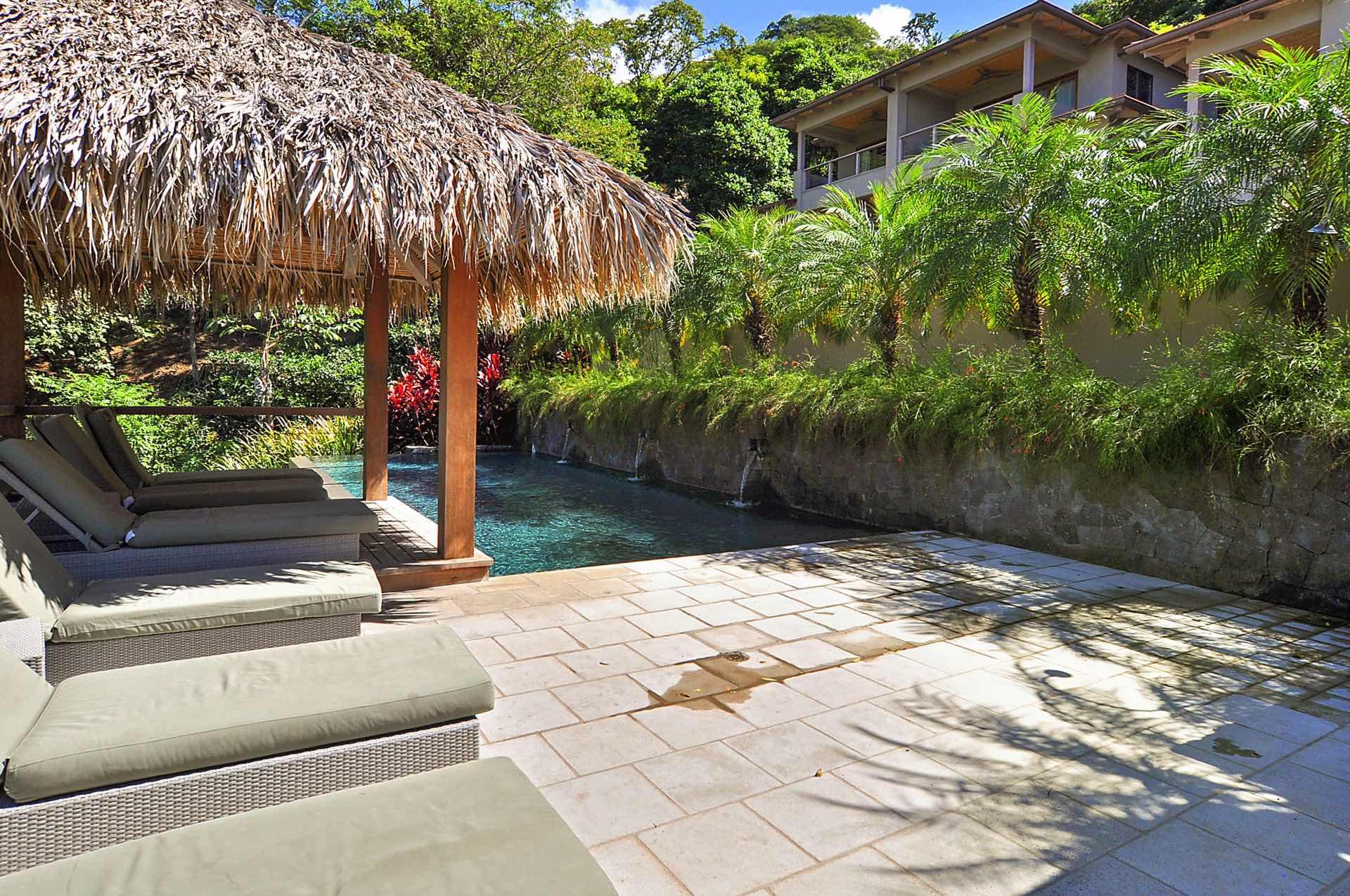 Pool area and sun terrace at Las Mareas