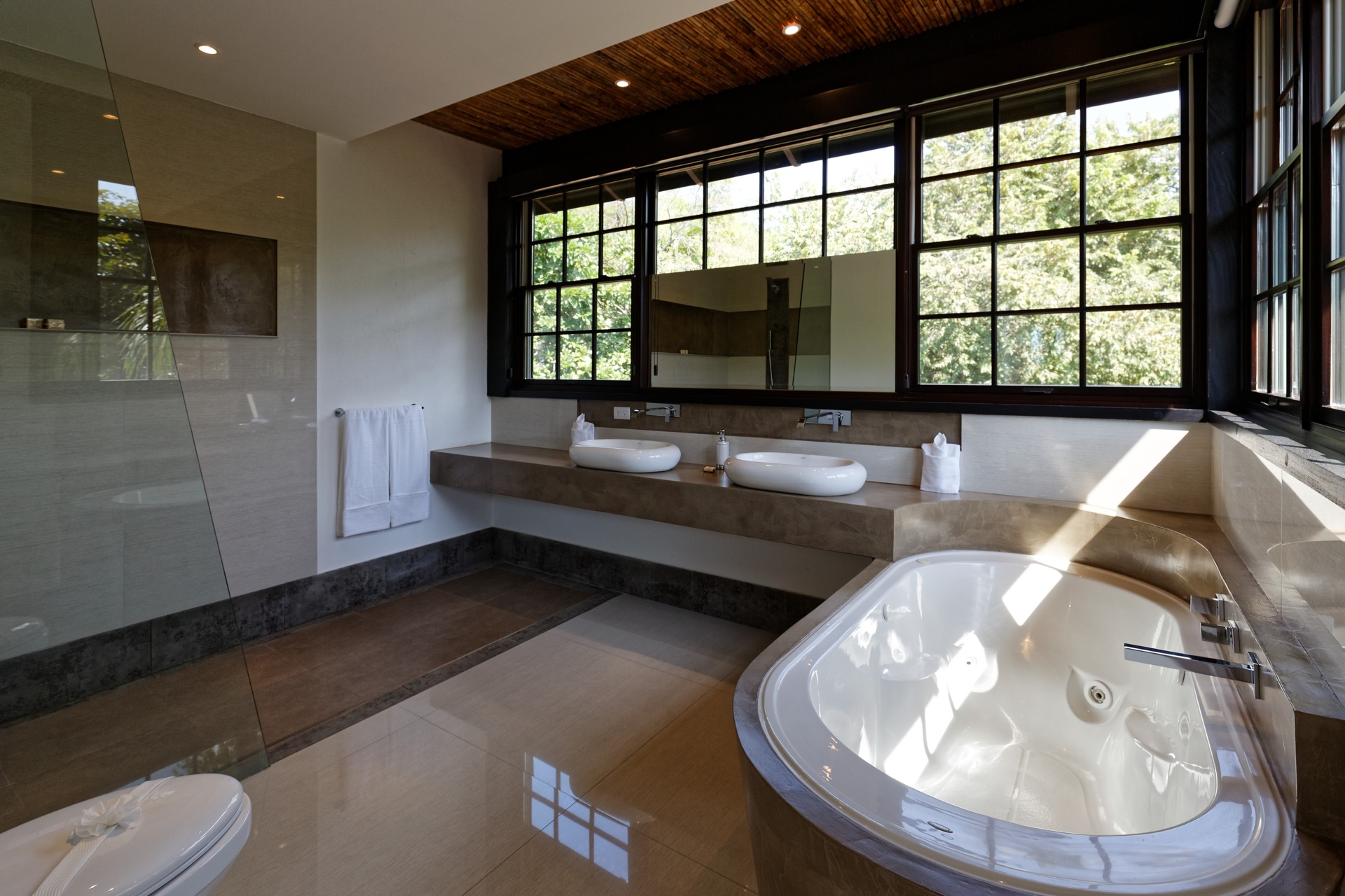 Complete bathroom with tub and shower