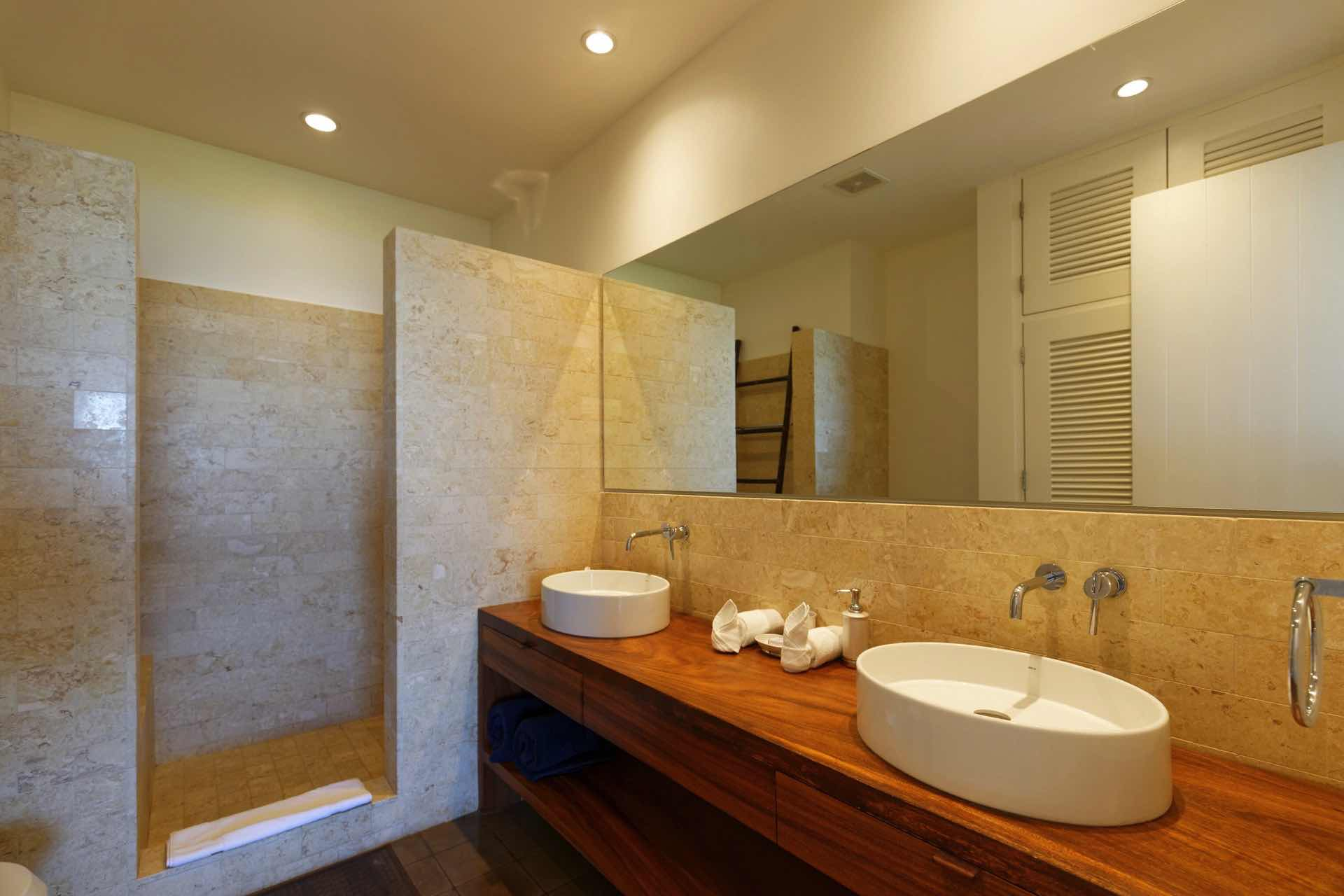 Bathroom with dual sink and shower