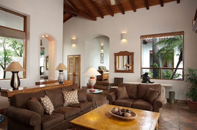 Large living area with high-ceilings