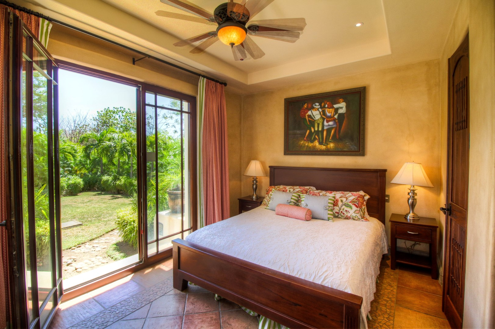 Bedroom opens up to backyard