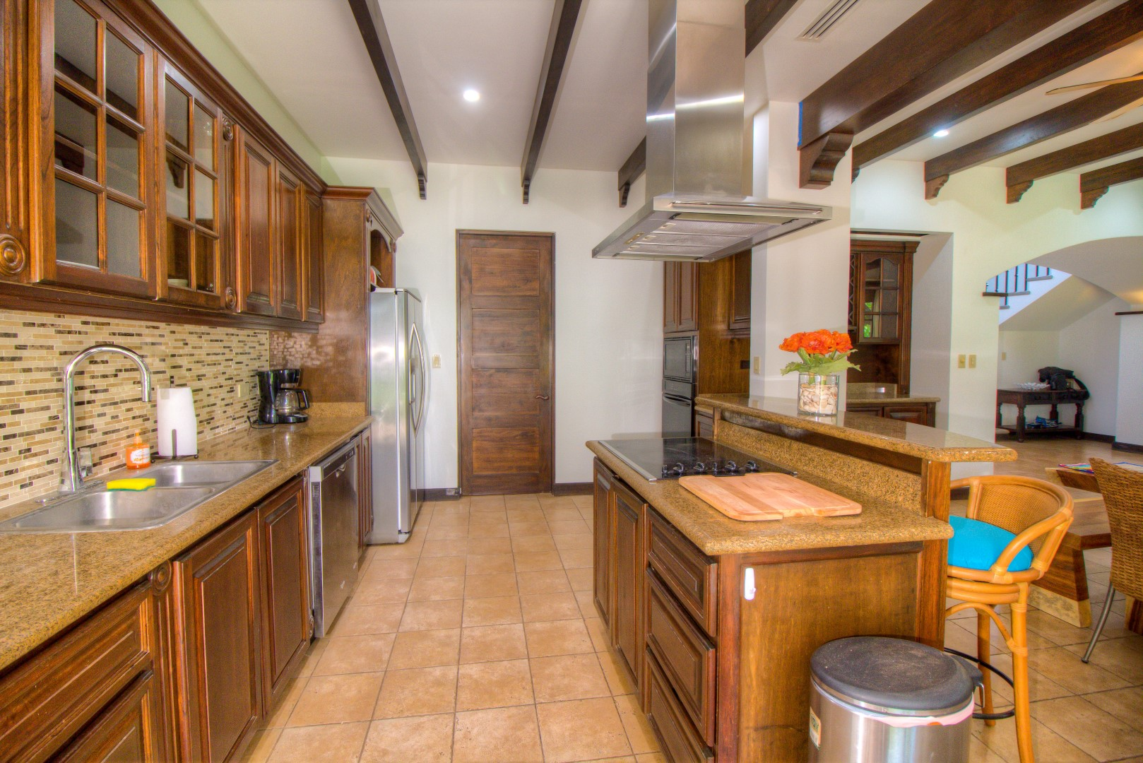Granite counter-tops and stainless steel appliances