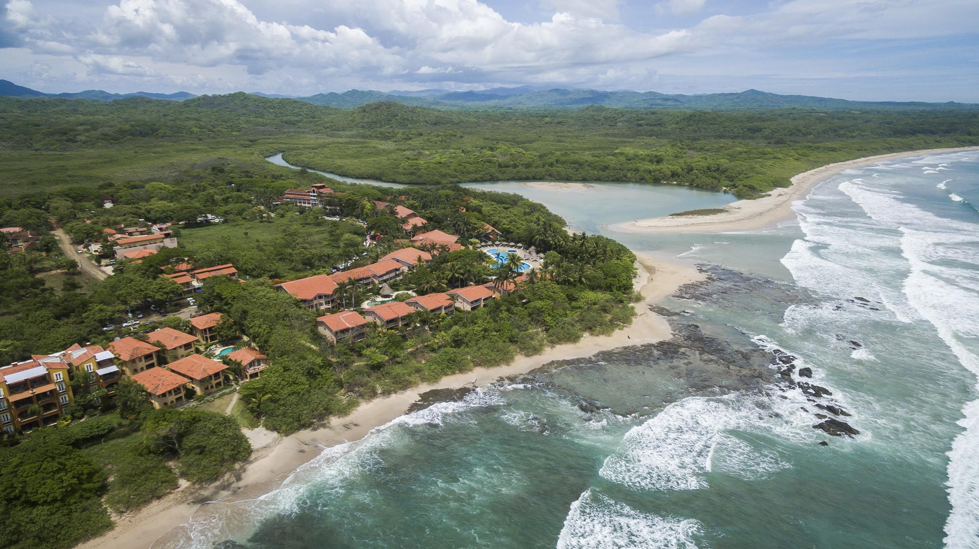 Areal view, Langosta beach and estuary