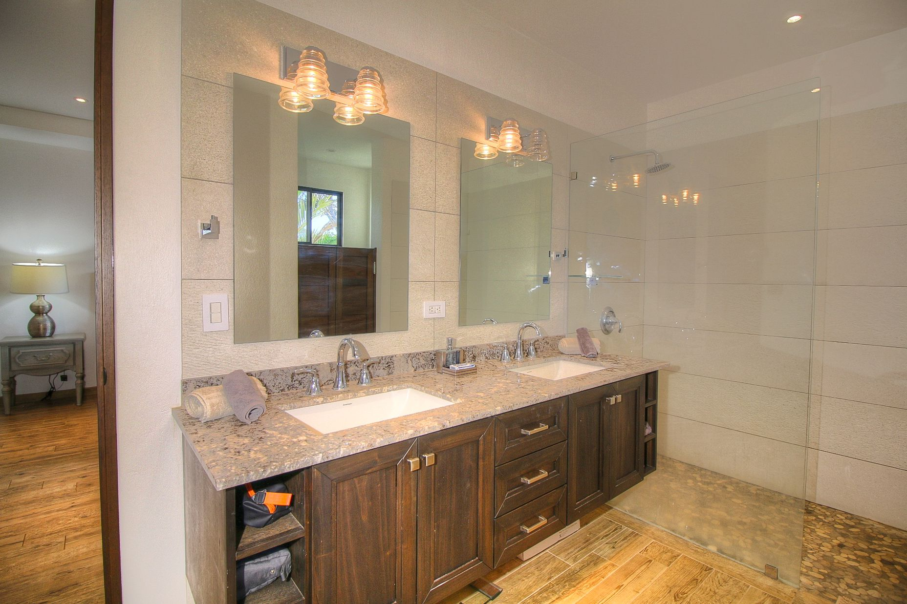 Bath with shower and double sinks