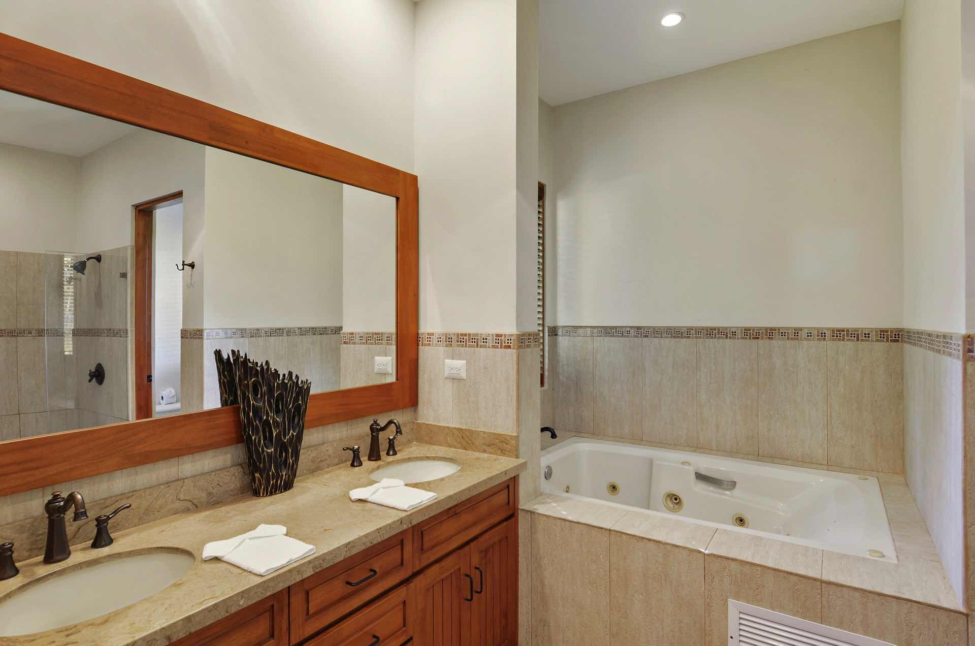 Bathrooms with tub and double sink
