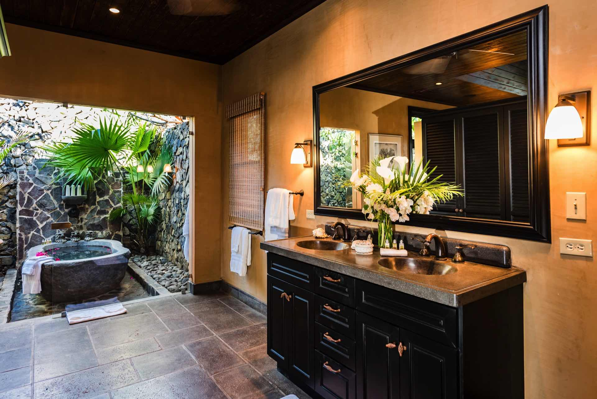 Bathroom with outside tub for relaxing