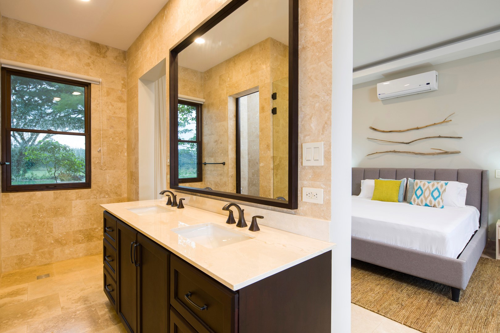 Each bedroom includes a private bath