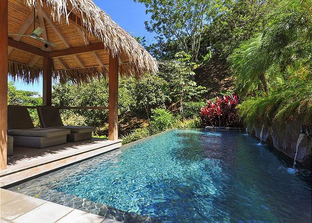 Swimming pool surrounded by lush gardens and forests