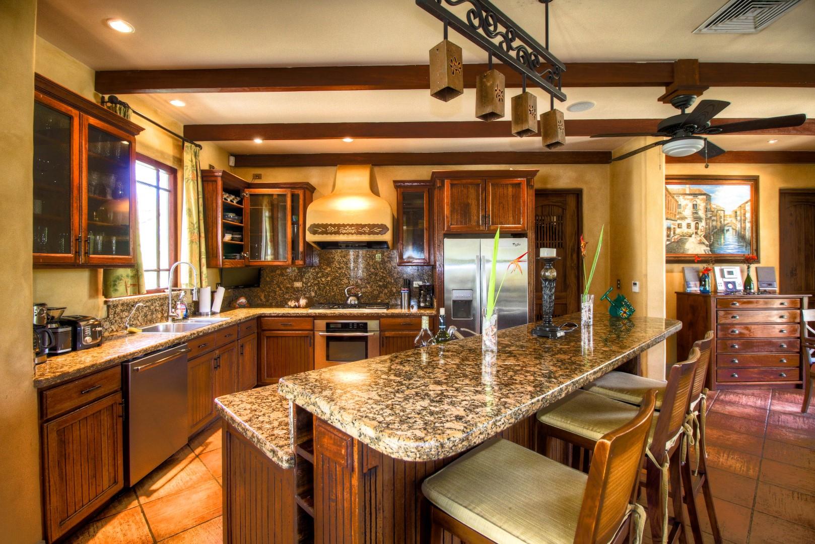 Granite counter-tops, steel appliances