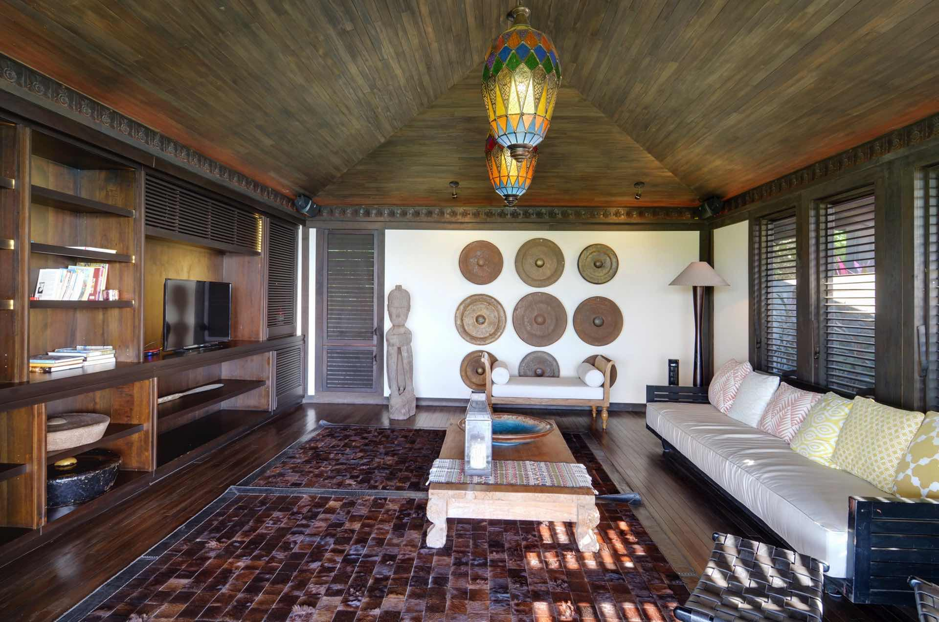 TV room accented by natural textures