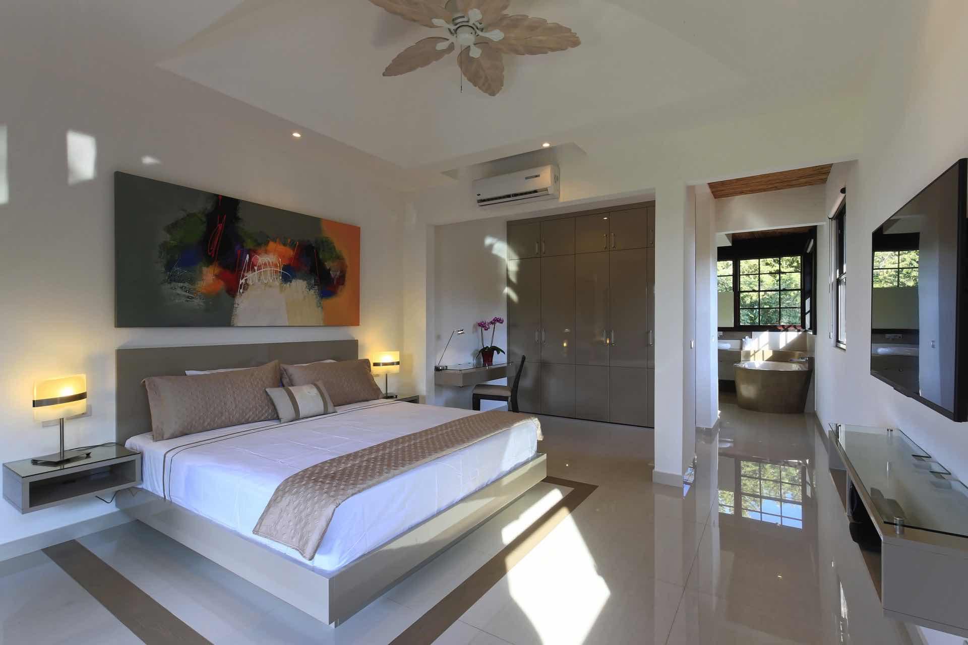 Spacious master suite on the second floor of Villa Los Venados