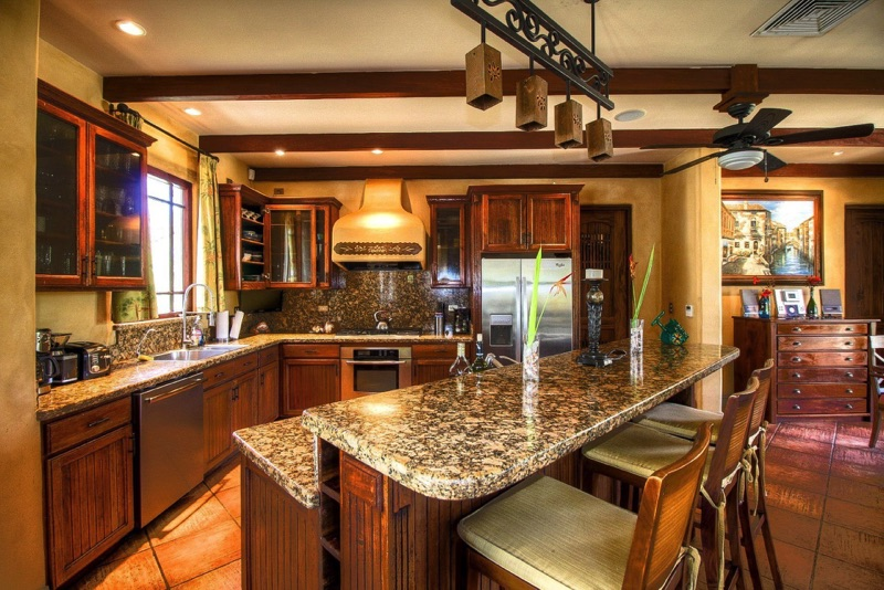 Granite counter-tops, steel appliances