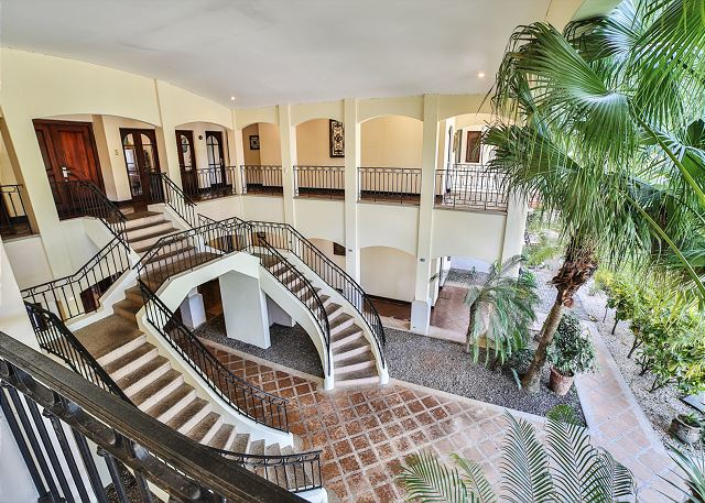 The beautiful staircase is great for wedding photos