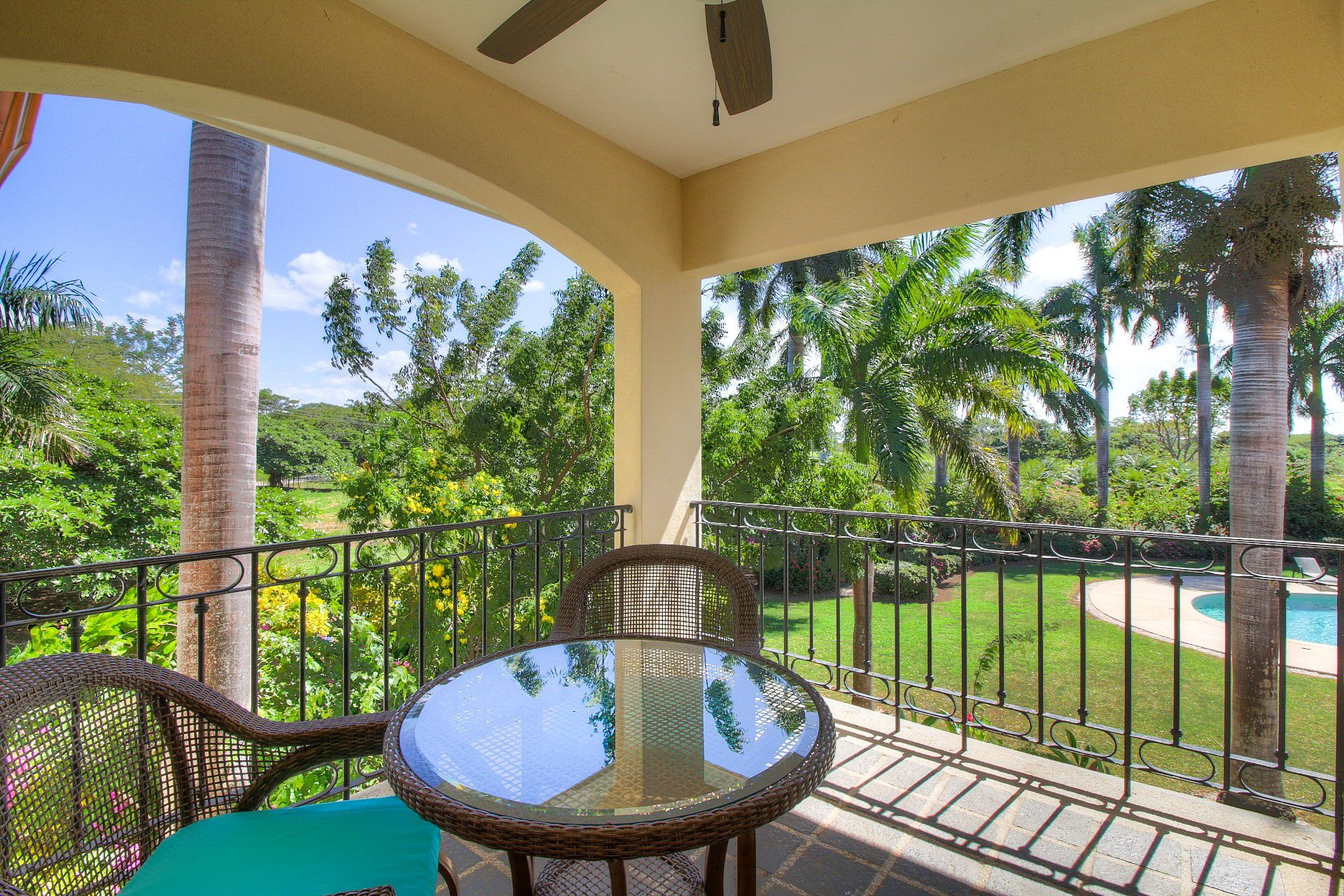 Enjoy quiet moments overlooking the pool and garden