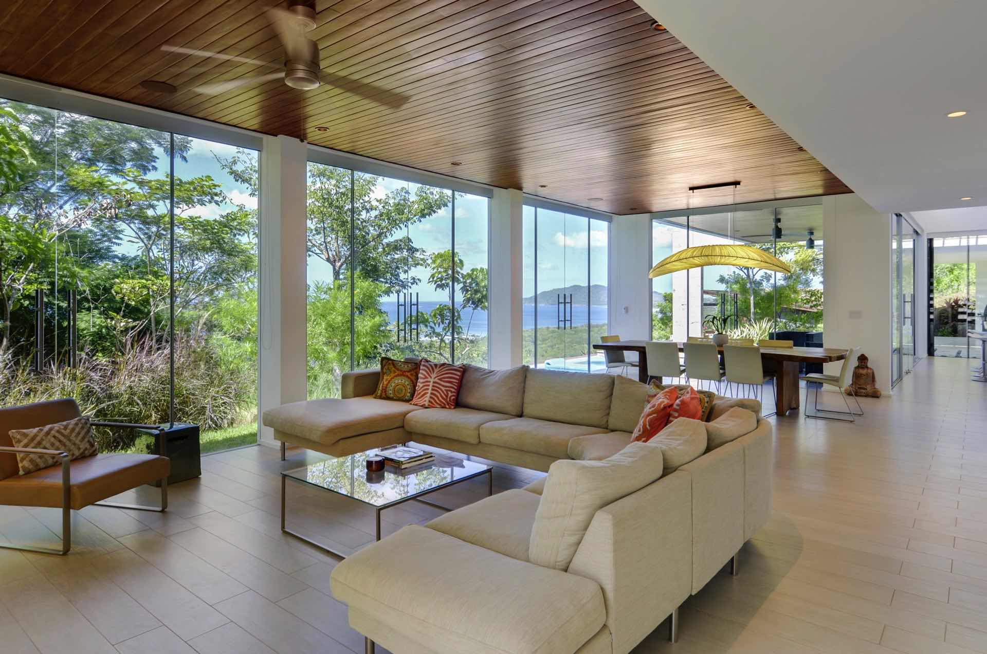 Floor-to-ceiling windows are equipped with black-out blinds