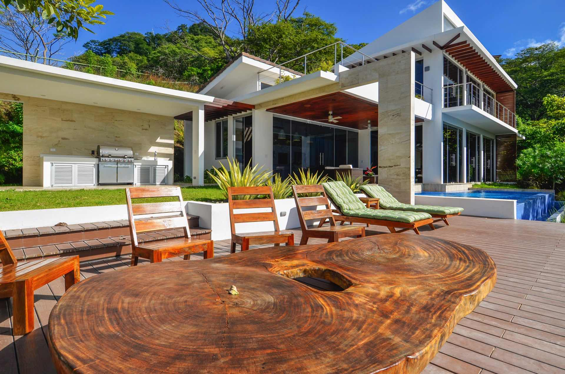 Wooden sundeck and natural table