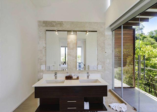 Modern bathroom with double sinks