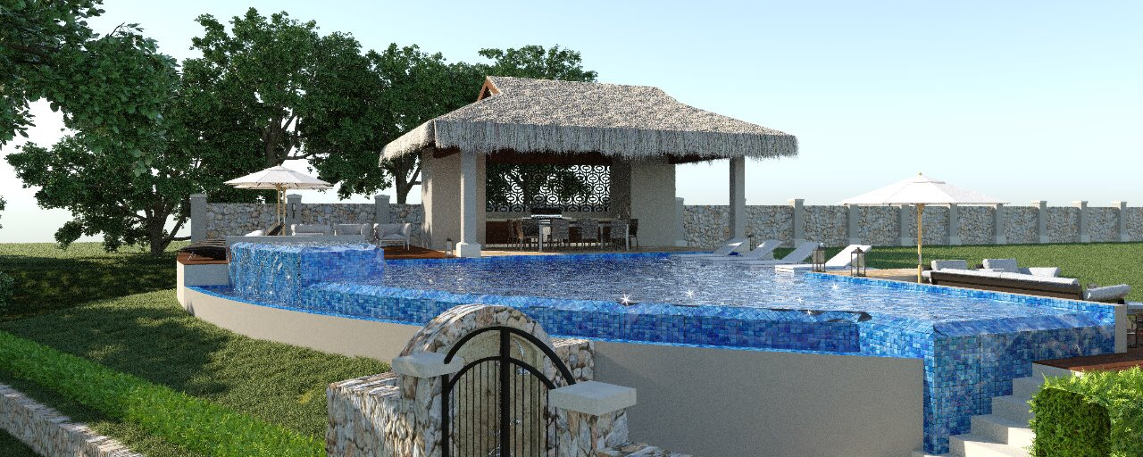 Brand new infinity pool and thatched pavilion