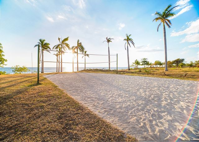 The volleyball court at the beach club is lots of fun!
