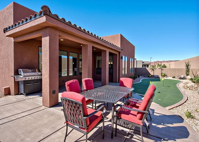 The back patio is the perfect place to BBQ, relax, and enjoy the weather of St. George!