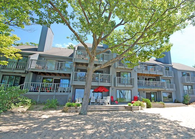 The Beach Walk building as seen from the beach side of the condo. Beach Walk 3/4 is the lower level condo on the far left of this picture!